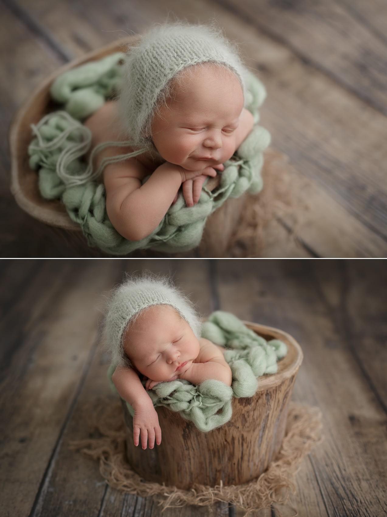 Newborn fotografie miminka v pařezu
