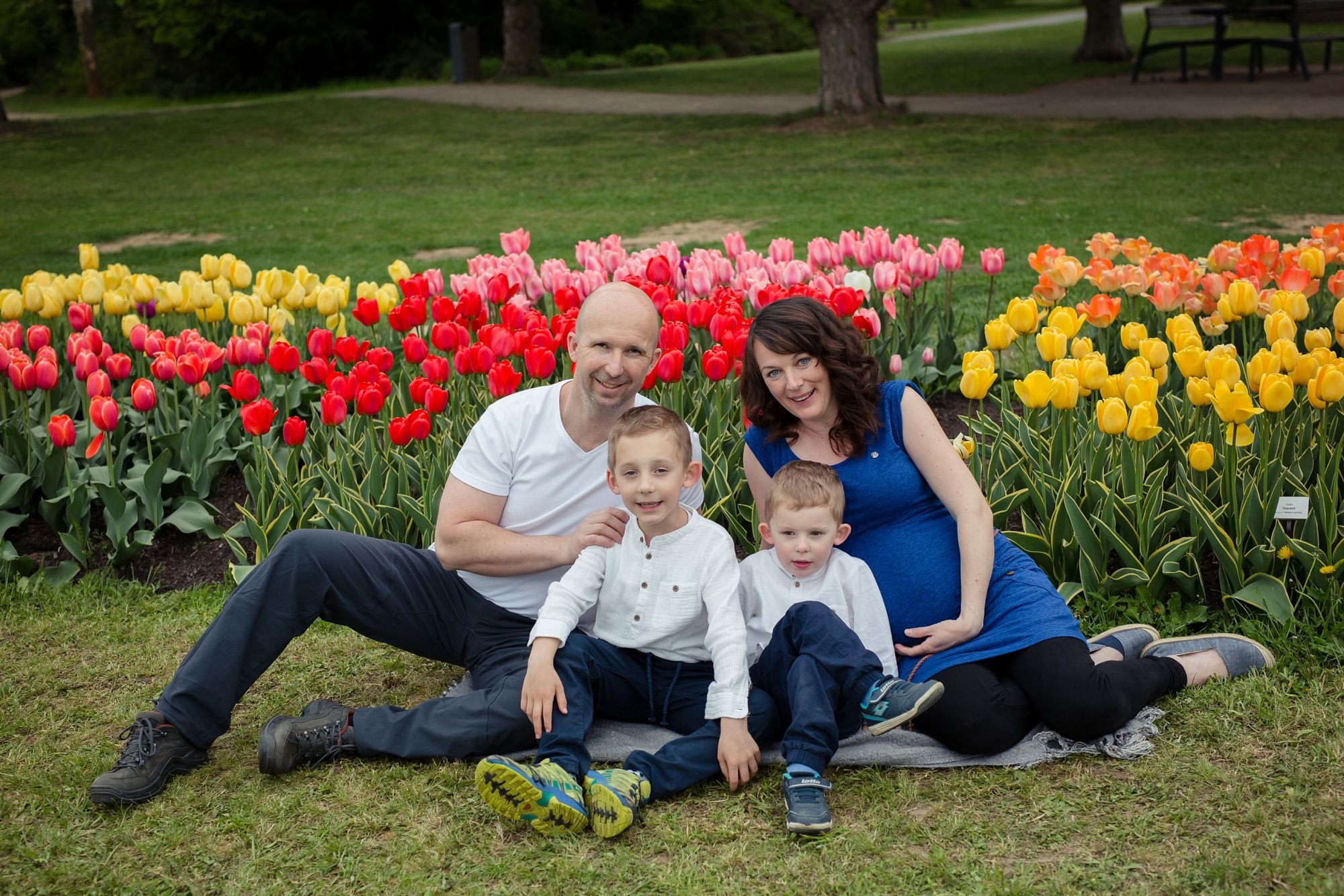 Rodinne tehotenske foceni v Dendrologicke zahrade, louka s tulipany
