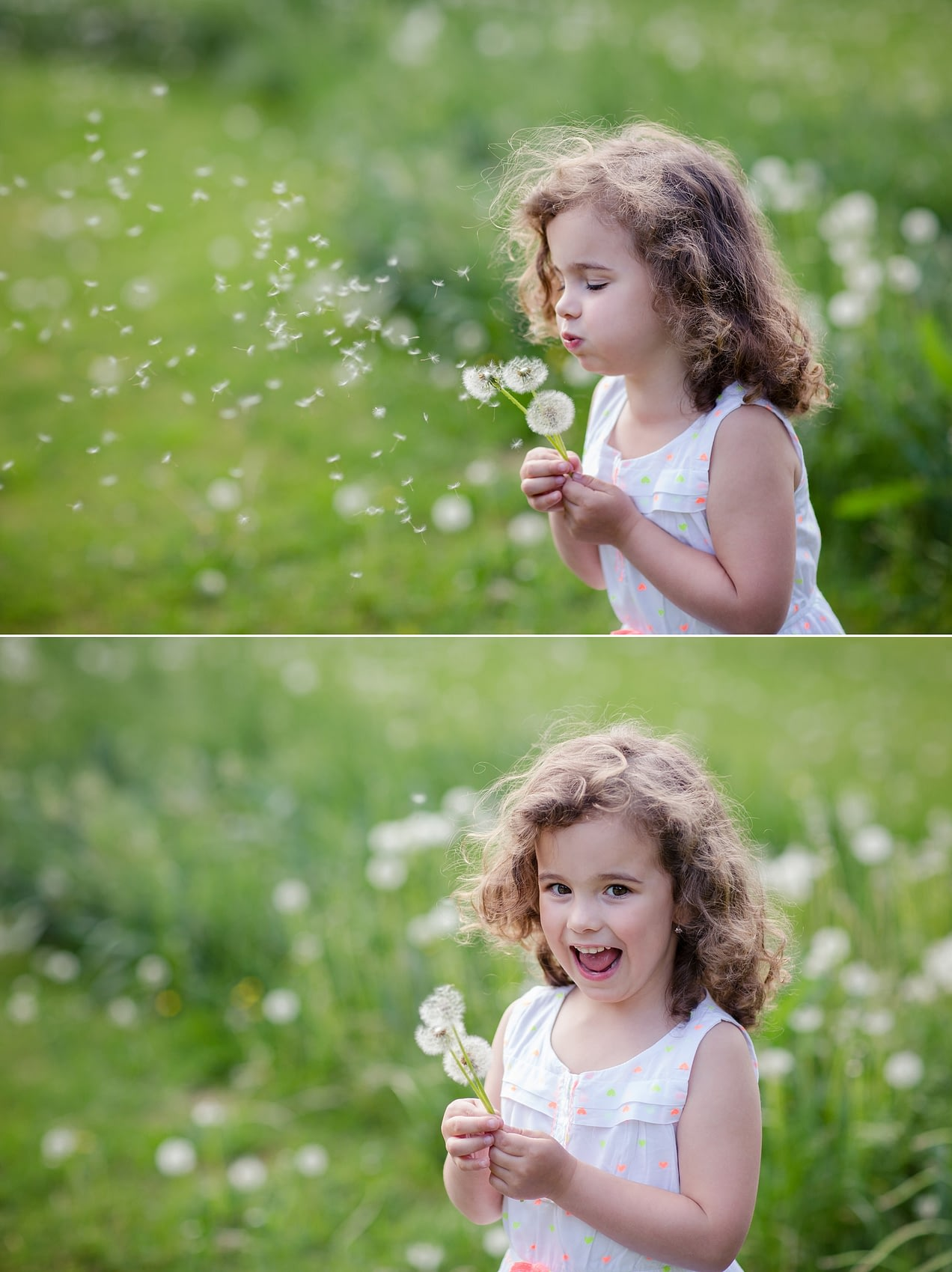 Focení v přírodě na louce holčička fouká do pampelišky