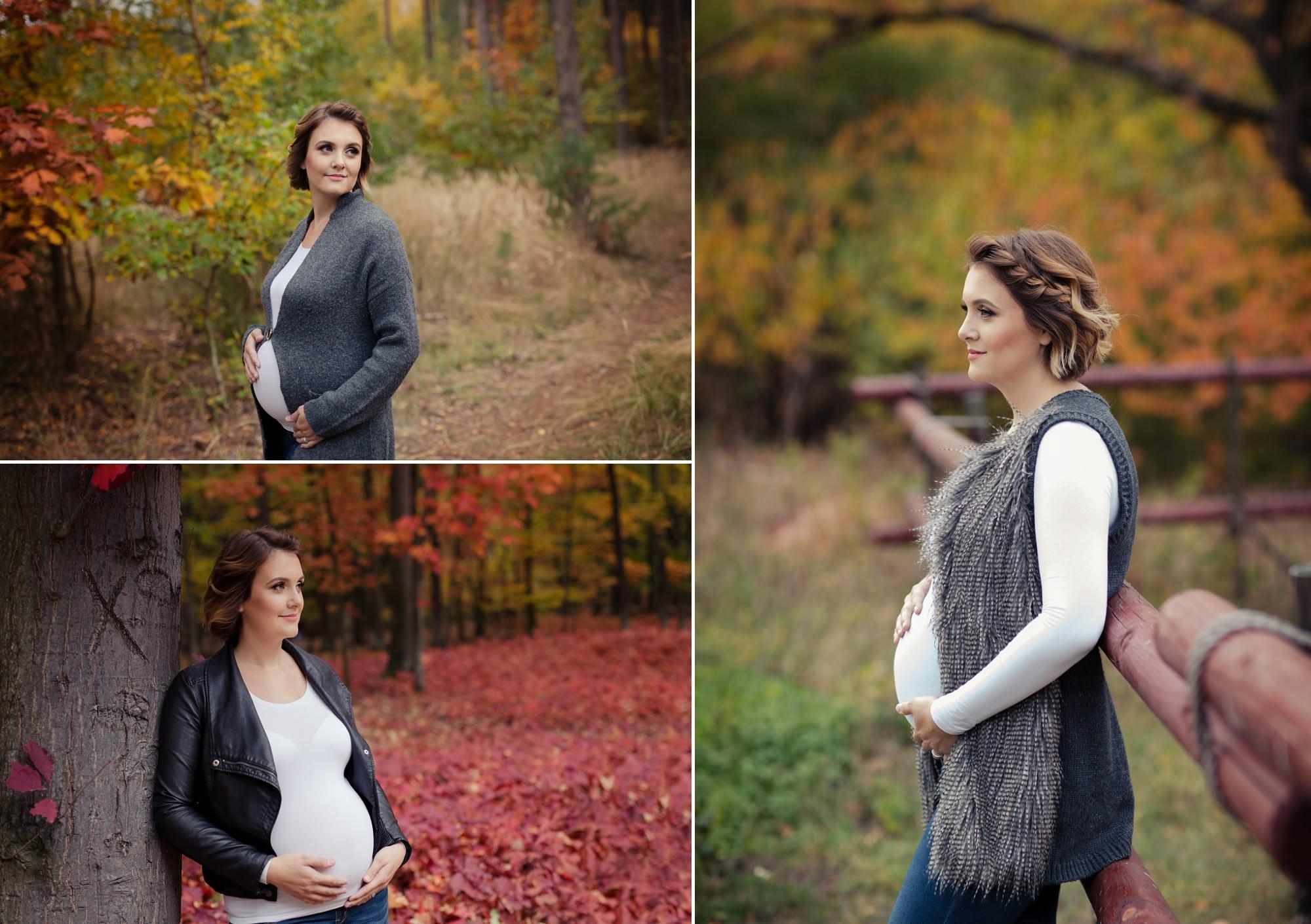 Těhotenské focení v lese v podzimní přírodě