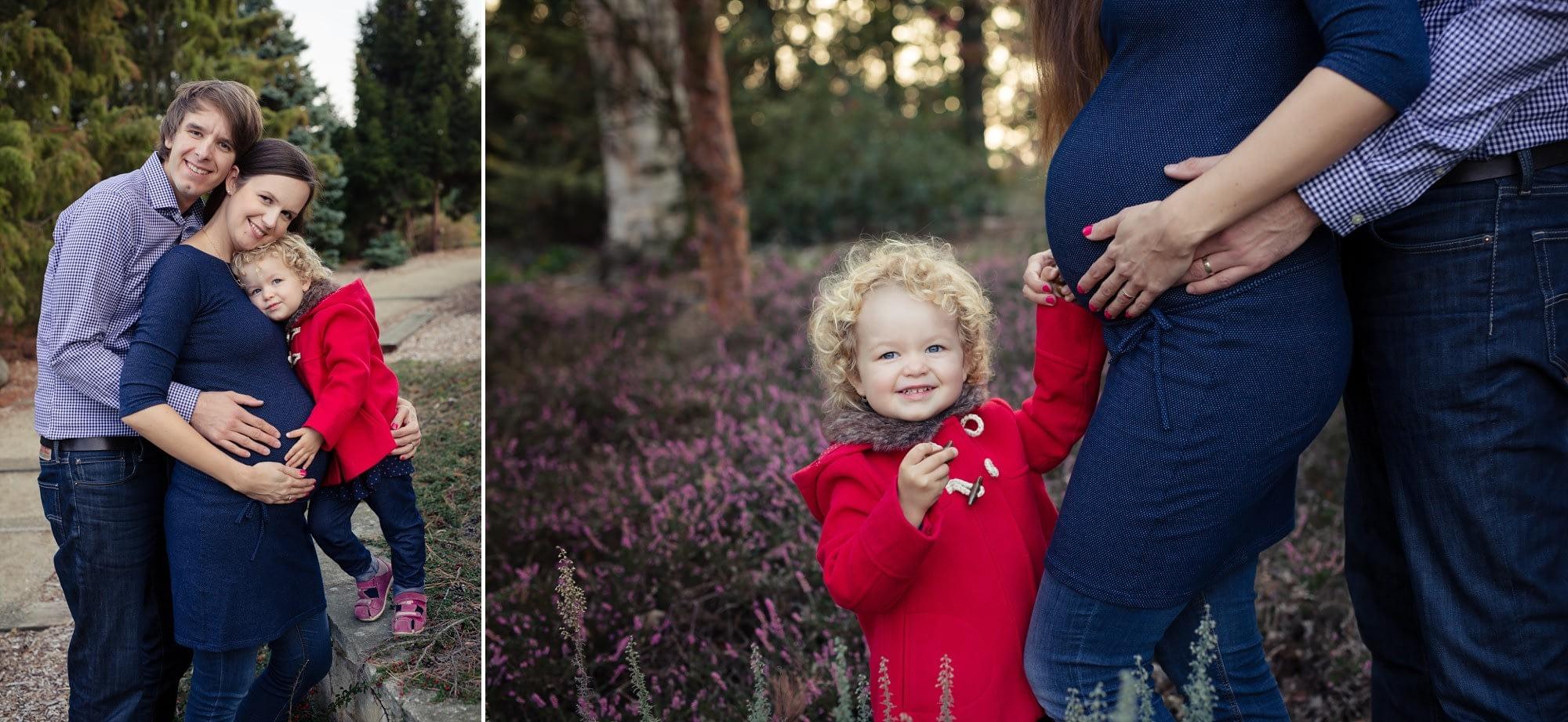 Rodinné těhotenské foto v přírodě s vřesy